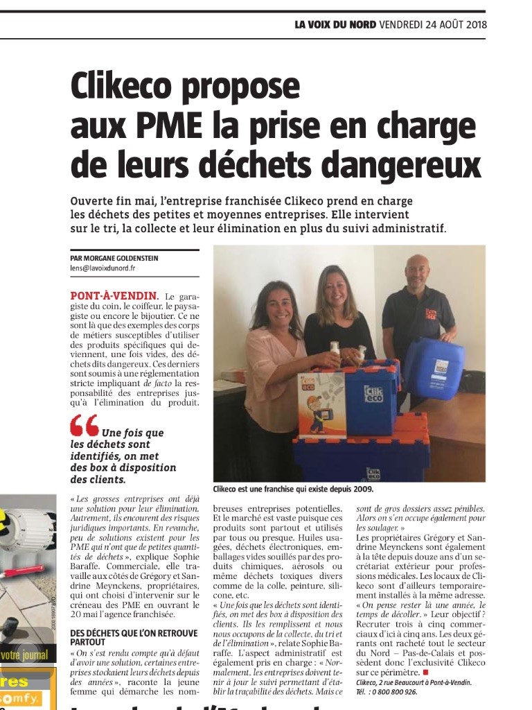 Article nouvelle franchise clikeco – Nord Ecotri